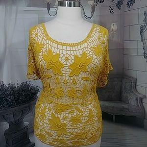 Lane Bryant Gold Crochet Blouse